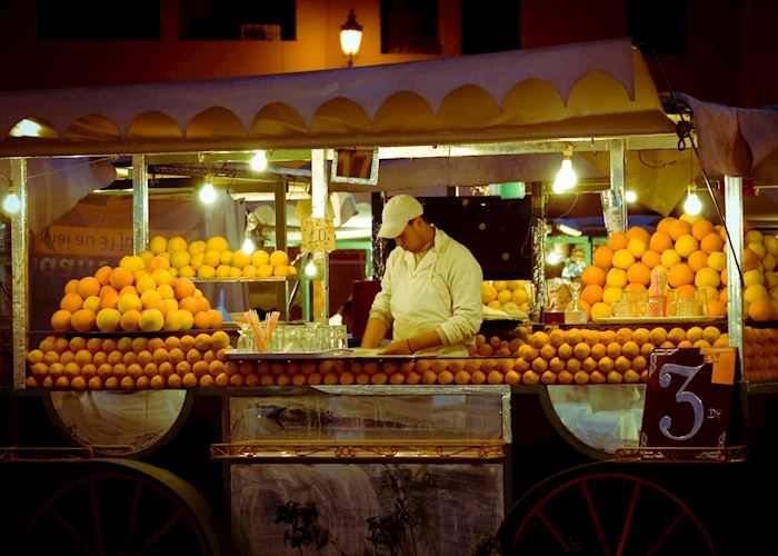 Orange seller in Marrakesh, Morocco