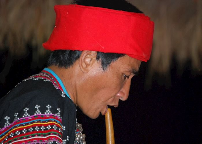 Lahu musician at the cultural display of dancing , Lanjia Lodge, Chiang Rai