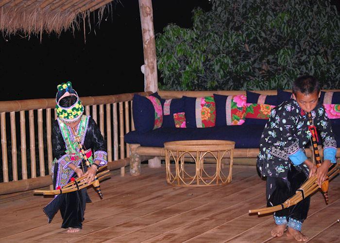 Lahu children dancing, Lanjia Lodge, Chiang Rai