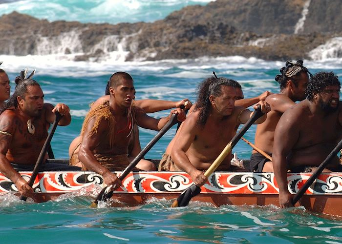 Maori Warriors in a Waka, Bay of Islands