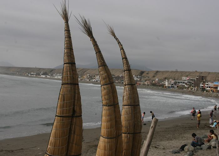 Reed boats on Huanchaco beach
