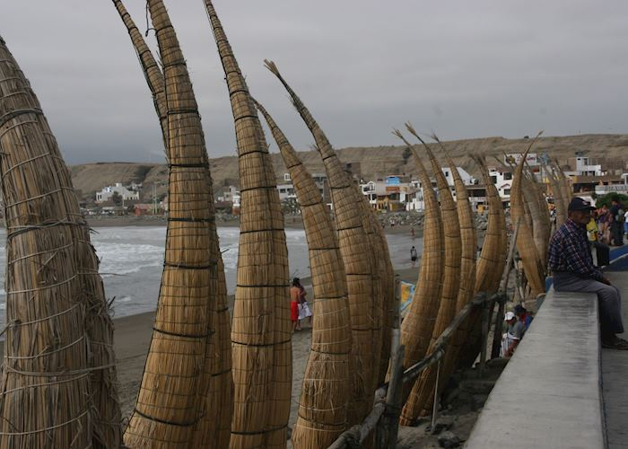 Huanchaco beach and the reed fishing boats
