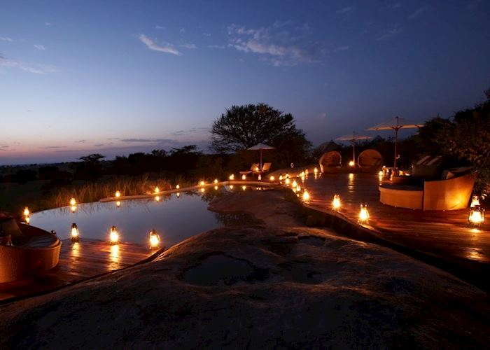 Sayari Camp's pool at night
