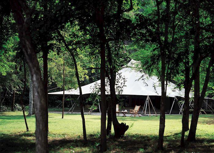 Exterior of a tent, Amanwana, Moyo island