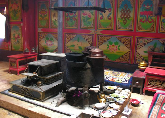 Interior of traditional Tibetan house
