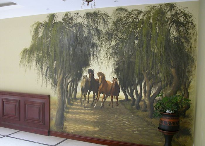 Murals at Hotel Victoria, Loja (painted by local artist linked to Hacienda Trinidad)