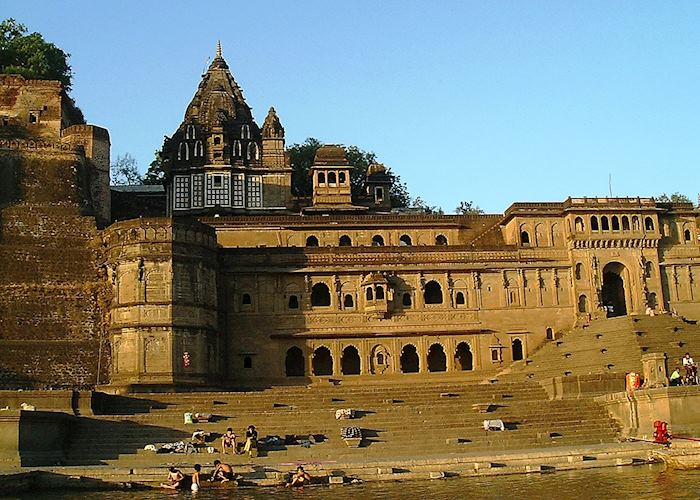 Ahilya Fort from the Narmada River,  Maheshwar