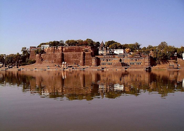 Ahilya Fort across the Narmada River, Maheshwar
