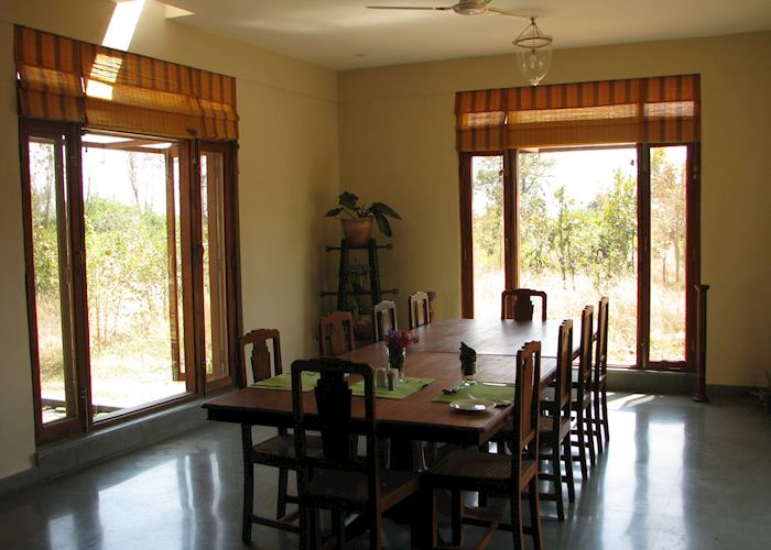 Indoor dining at Forsyths Lodge, Satpura National Park