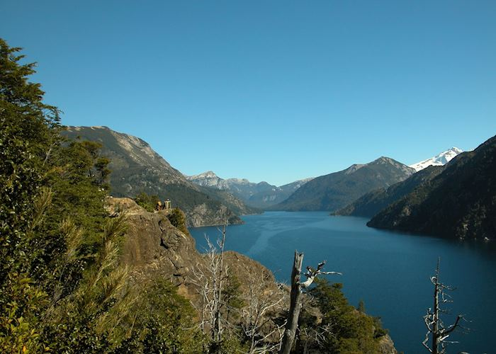 View of Brazo Tristeza (Lake Nahuel Huapi), with Mt. Tronador in the distance
