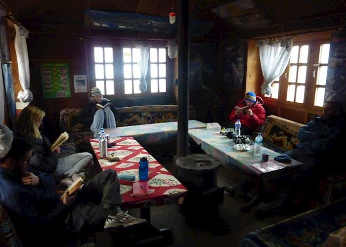 Typical tea house lodge dining room, Nepal