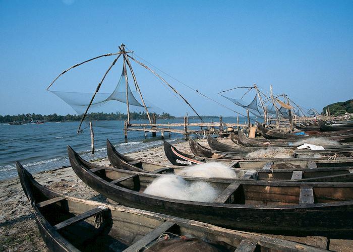 Chinese fishing nets and boats, Cochin, Kerala