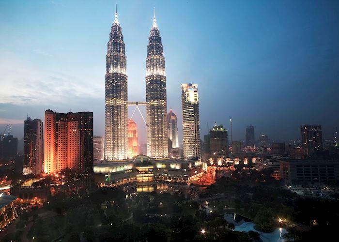 Petronas Towers at dusk, Kuala Lumpur, Malaysia
