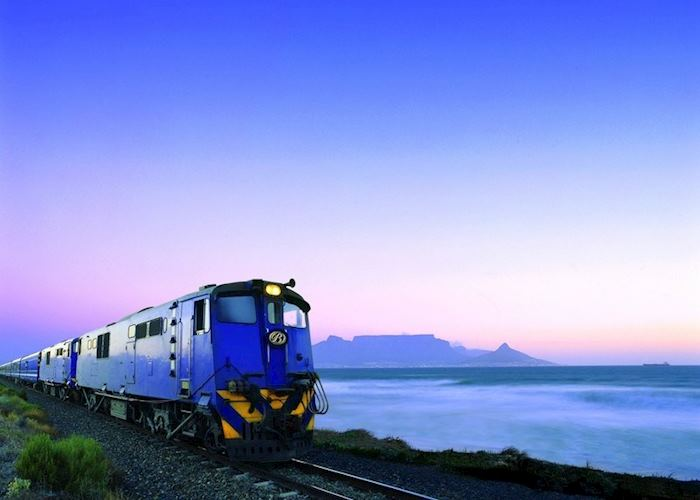 The Blue Train with Table Mountain in the distance