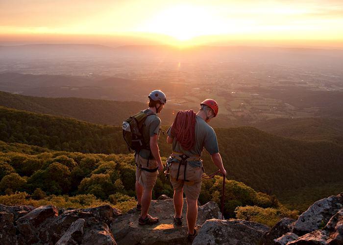 Climbing at sunset in Shenandoah National Park