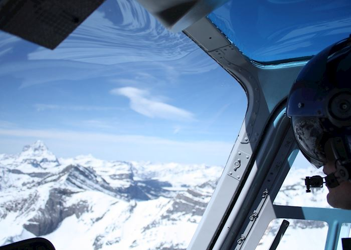 Helicopter flight over the Canadian Rockies