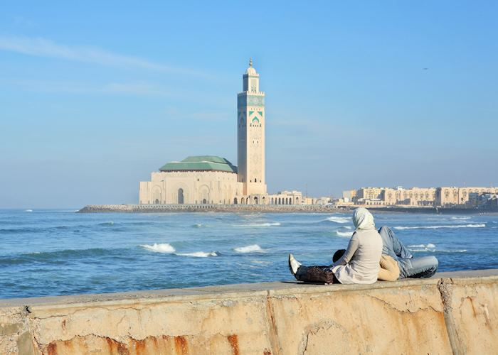 Casablanca seafront with the Hassan II Mosque, Morocco