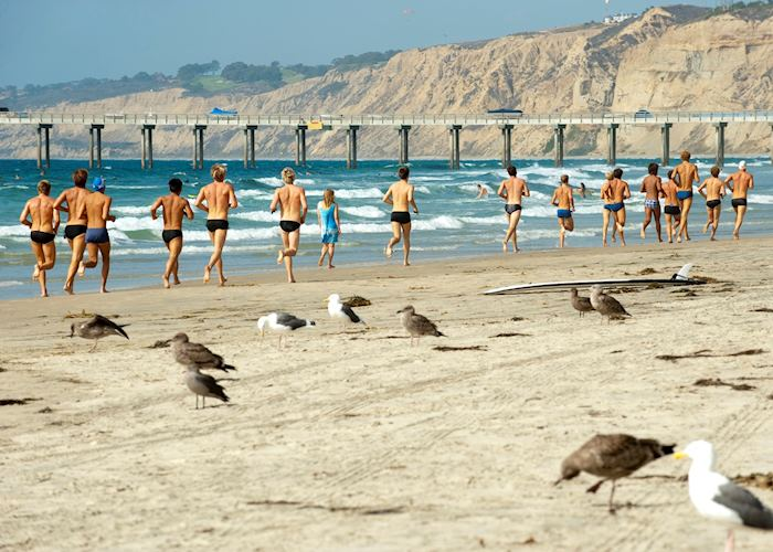 Jogging on the beach, San Diego