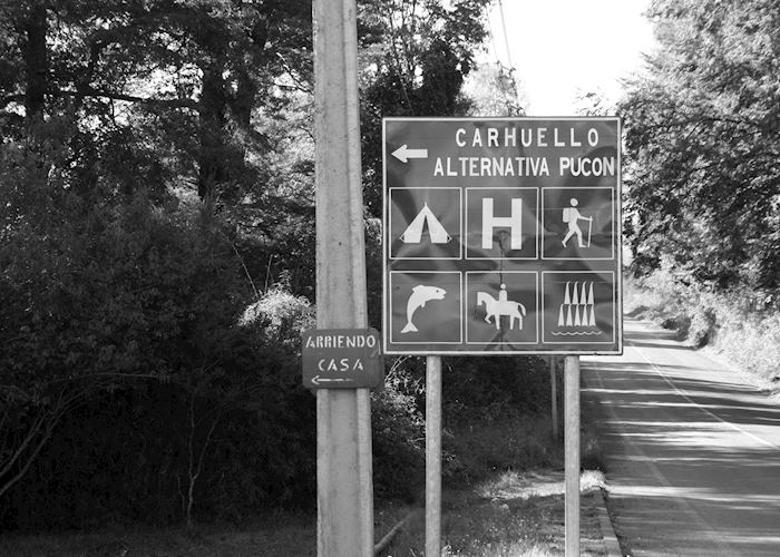 Look for this sign post when driving to Hotel Landhaus, San Sebastian, Pucon