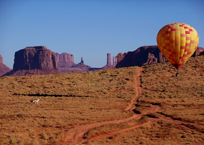 Hot air ballooning over Monument Valley