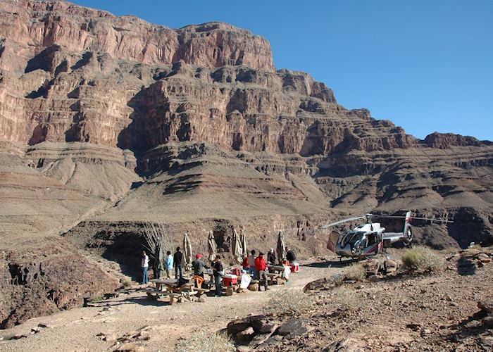 Helicopter landing at the Grand Canyon