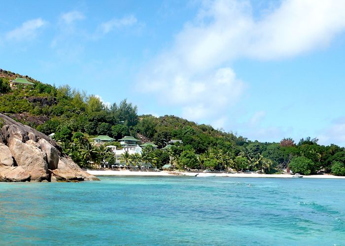 L'Archipel seen from the sea, Praslin