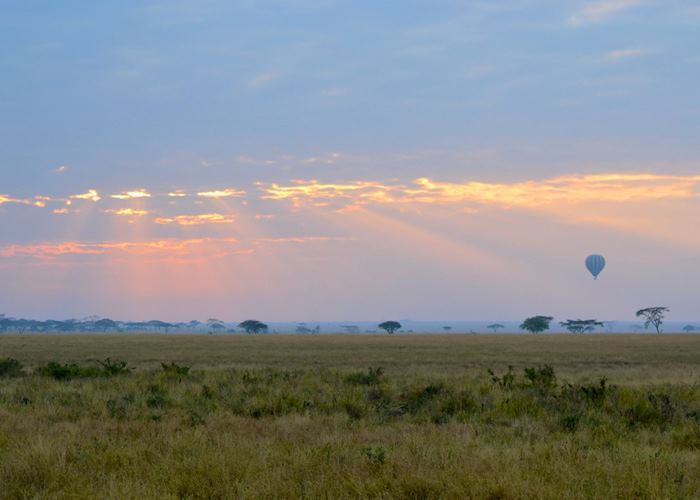 Balloon rising at dawn over the Serengeti