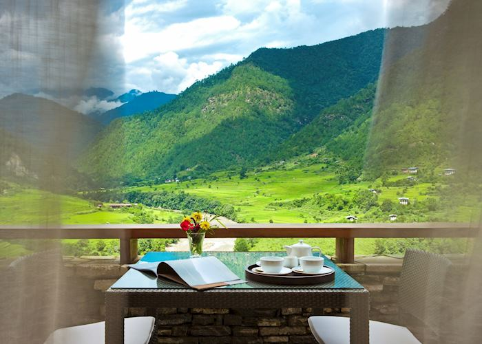 Tea on your terrace overlook the Punakha Valley at Uma Punakha