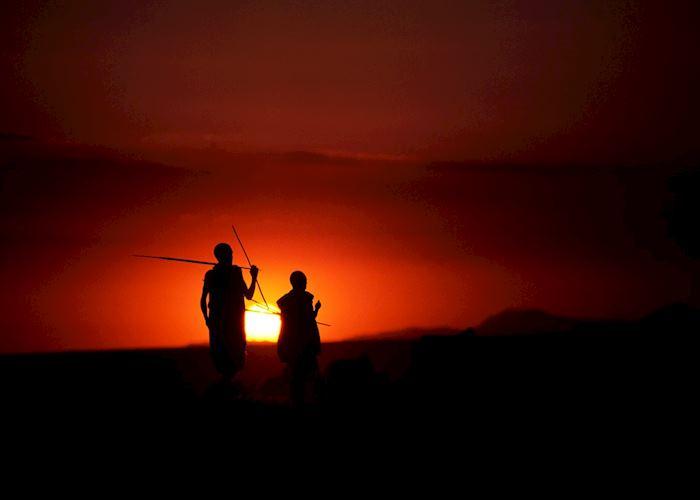 Maasai at sunset, Ngorongoro