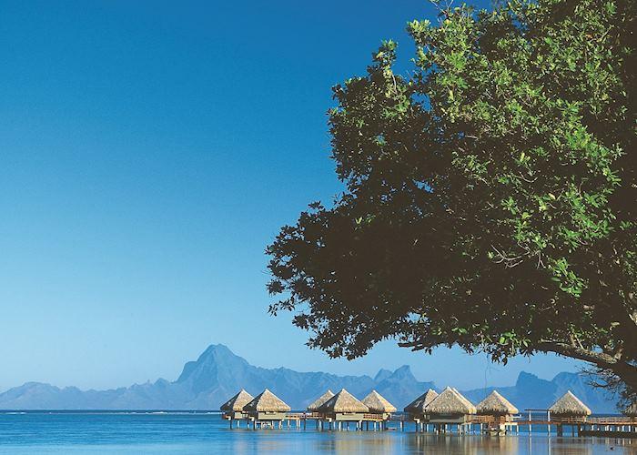 Overwater bungalows on Tahiti