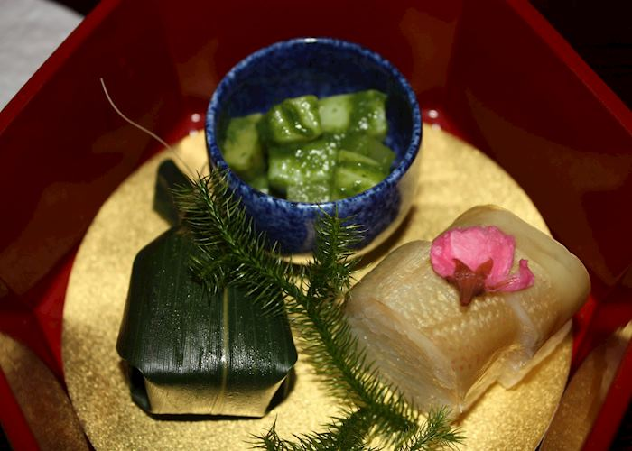Dinner during the Geisha Night at the Gion Hatanaka Ryokan