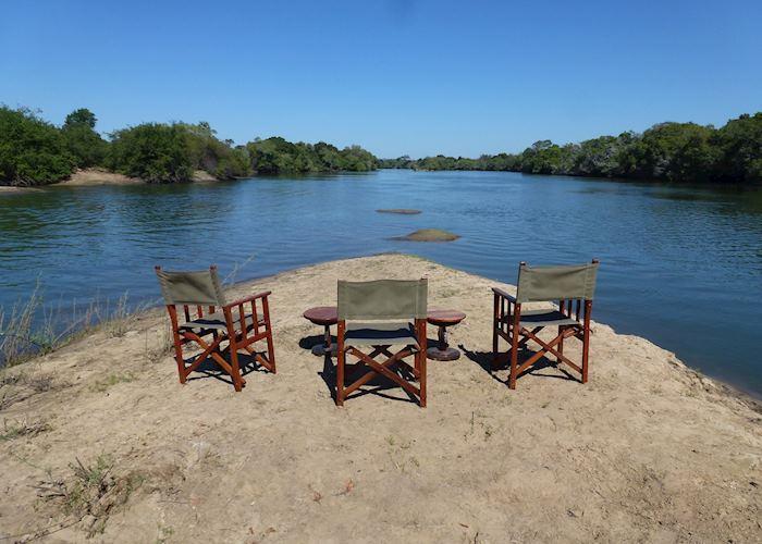 Morning coffee on the river, KaingU Safari Lodge, Kafue National Park