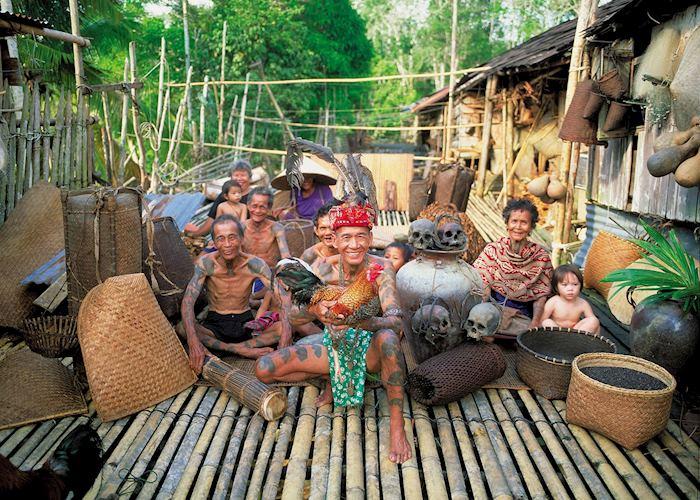 Iban tribe at their longhouse, Lemanak River, Sarawak
