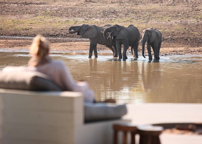 Watching elephants from Chinzombo Camp, South Luangwa National Park