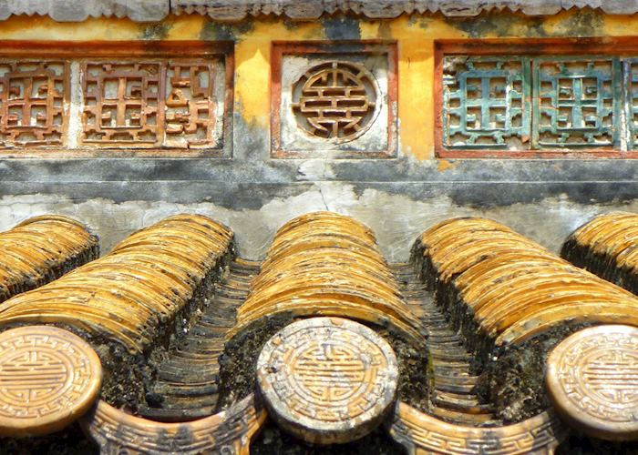 Roof tiles at Minh Mang's tomb, Hue, Vietnam