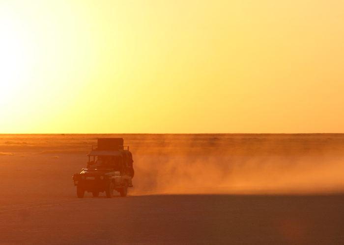 Sunset drive in the Makgadikgadi Pans