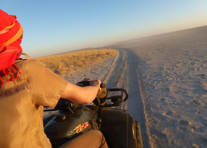 Quad biking in the Makgadikgadi Pans