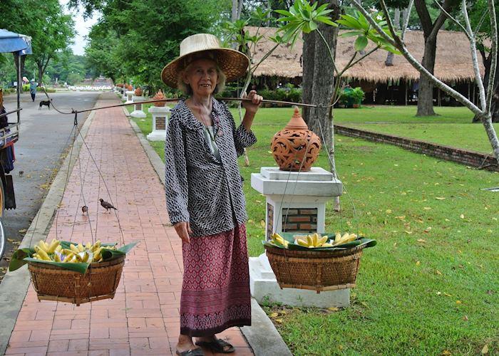 Lady selling fruit in Sukhothai, Thailand