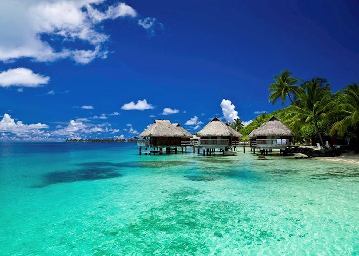 Over-water bungalows in Bora Bora