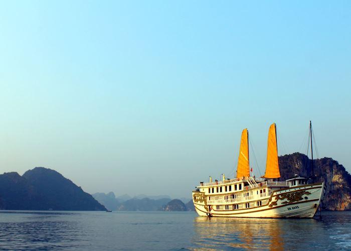 Sunset upon return to Indochina Sails Junk, Halong Bay, Vietnam
