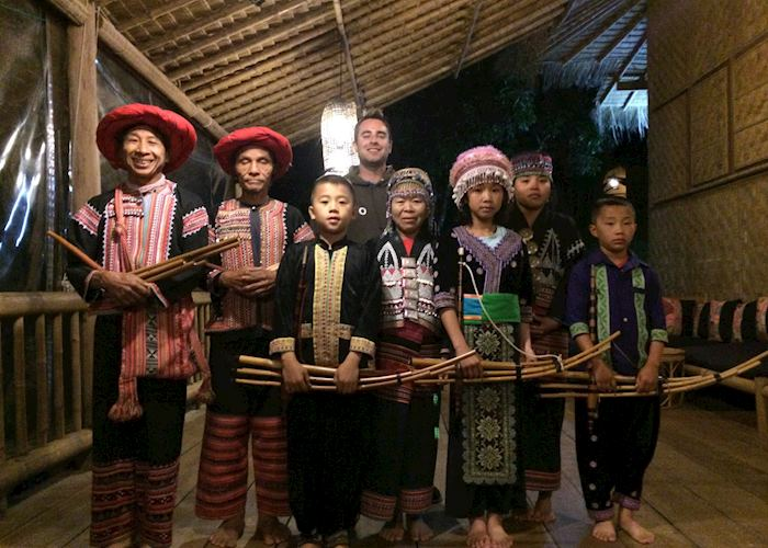 Hmong and Lahu traditional dancers at the Lanjia Lodge