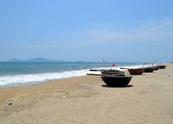 Coracles on Cua Dai beach, Hoi An, Vietnam