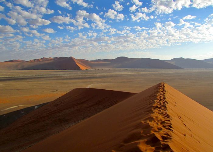 Climbing the sand dunes at Sossusvlei