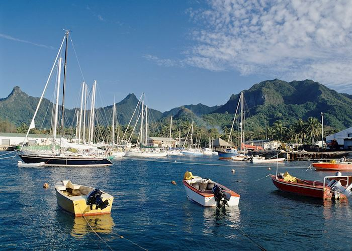 Boats in Rarotonga harbour