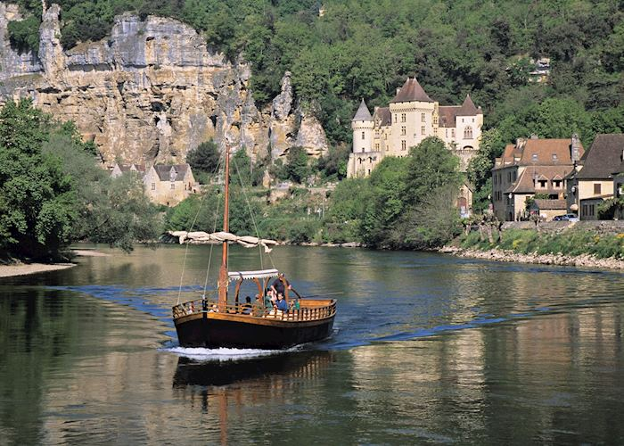 Traditional Gabarre boat on the Dordogne River