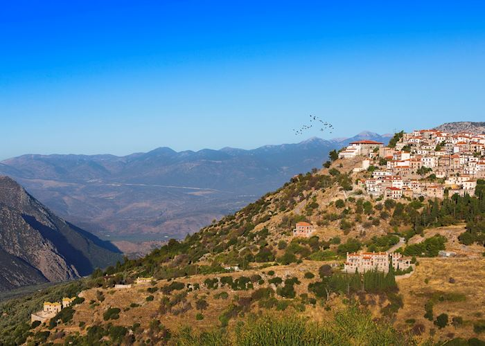 Views towards Arachova, Greece