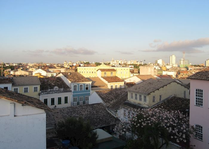 Rooftops of Salvador during sunset from Villa Bahia roof-terrace