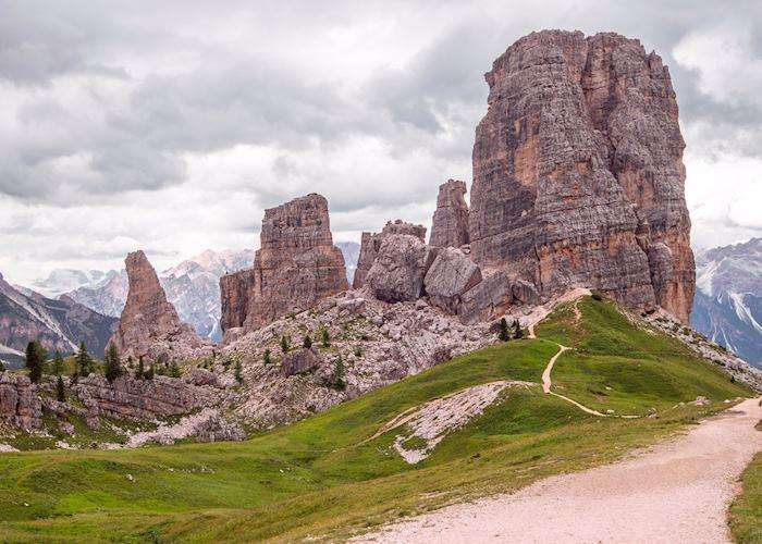 View of Cinque Torri from path, Dolomites