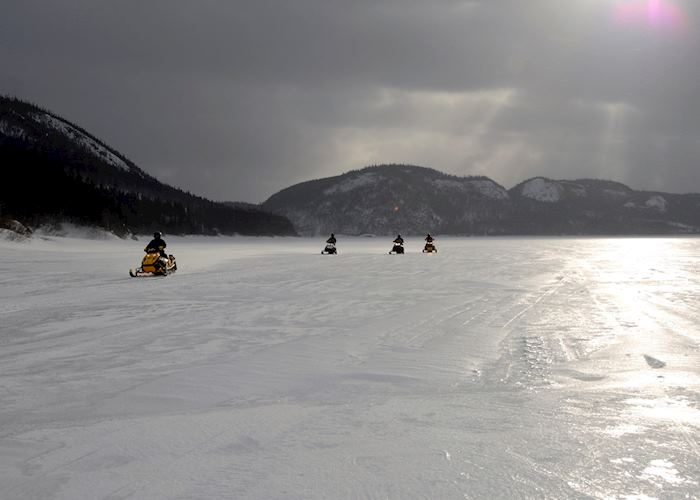 Snowmobile tour in the Rockies, Canada