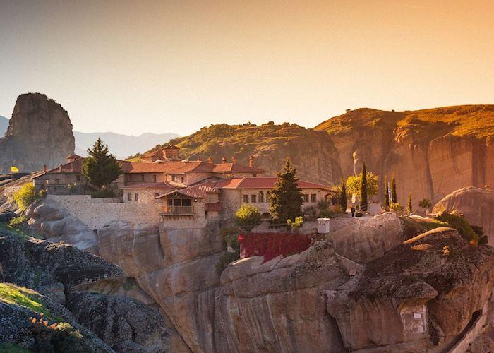 Grand Meteora monastery at sunset, Meteora